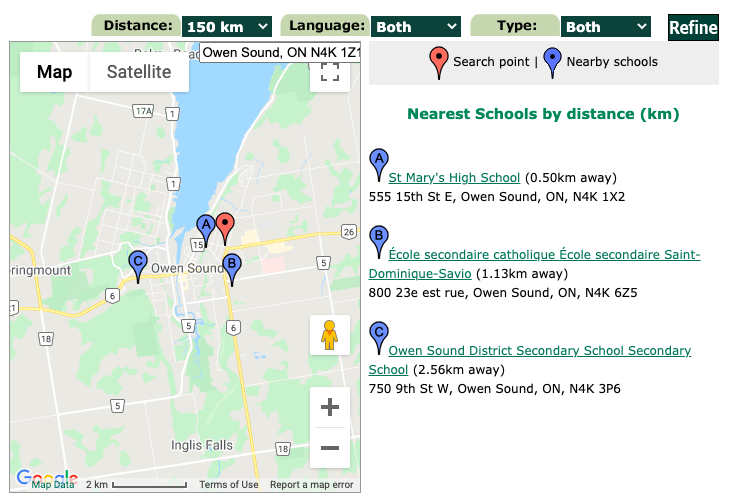 Find a High School in Grey and Bruce